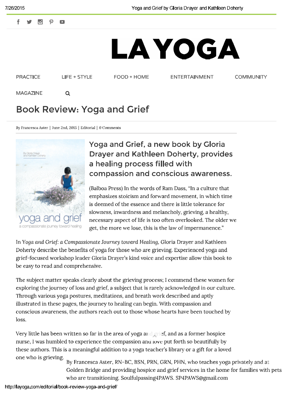 LA Yoga Yoga and Grief review